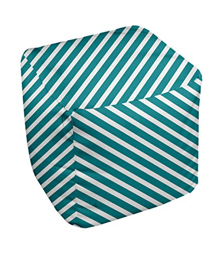 E by design Stripe Pouf, 13-Inch, 2Lake Blue - 1