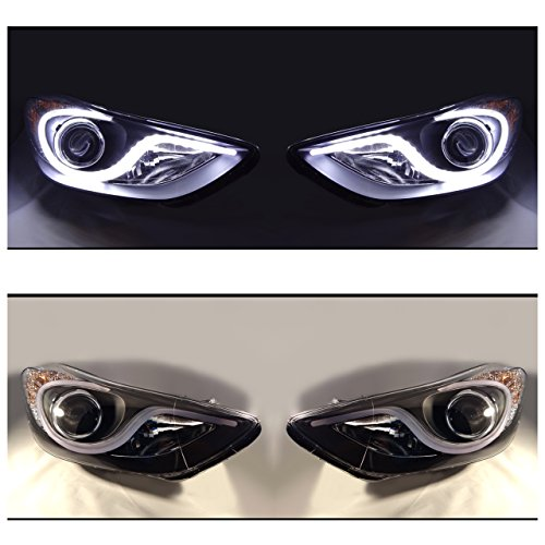 """JDM 3/"""" WHITE CCFL HALO PROJECTOR FOG LIGHTS+SWITCH+6000K 55W HID FOR NISSAN CARS"""