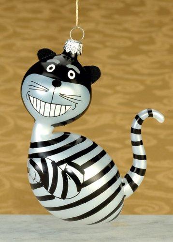 De Carlini Black and White Cat Italian Mouthblown Christmas Ornament