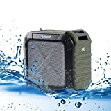 Bluetooth Speakers Outdoor Travel Portable & FM Radio by Ancord Enhanced Bass Microphone 12 Hours Rechargeable Battery Waterproof Wireless for iPhone, iPad, Samsung & More (Green)