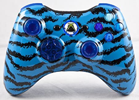 Drop shot, Auto-aim, Jitter Xbox 360 Modded Controller COD MW3, Black Ops 2, MW2, Rapid fire mod (Blue Tiger)