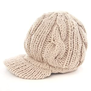 LOCOMO Men Women Boy Girl Slouchy Cabled Knit Beanie Newsboy Cap FAF026BEI Beige
