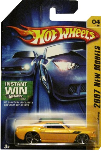 2007 New Models #4 1969 Ford Mustang Light Yellow Instant Win New Models Card #2007-04 Collectible Collector Car Mattel Hot Wheels