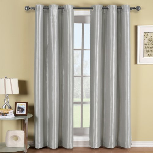 Soho Gray-Silver Grommet Blackout Window Curtain Panel, Solid Pattern, 42X84 Inches, By Royal Hotel front-1075863