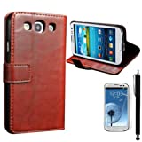 XYUN Luxury Wallet Flip Magnet Stand PU Leather Case Cover with Card Holder For Samsung Galaxy S3 i9300 with Screen Protector and Stylus(Brown)