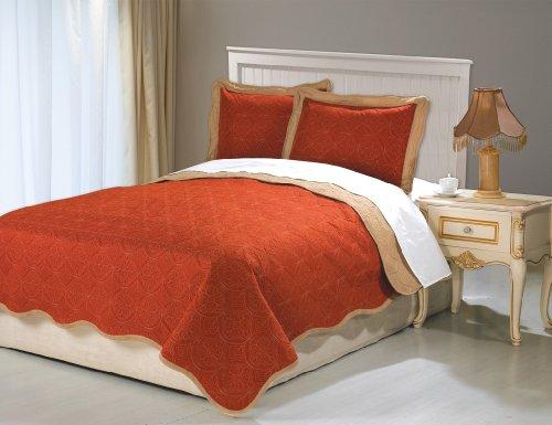 Luxury Home 3-Piece Rubani Coverlet, Queen, Brick