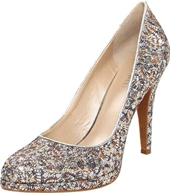 Nine West Women's Rocha Pump,Silver Fabric/Silver Fabric,5 M US