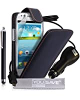 Yousave Accessories SA-EA01-Z953CP Pack de Housse + Stylet + Chargeur de Voiture + Film de Protection d'Ecran pour Samsung Galaxy S3 Mini
