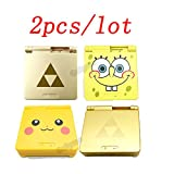 2pcs/lot Limited Cartoon Pikachu/Zeald/Spongebob Version Repair Housing Shell Case Cover for Nintendo Gameboy Advance SP GBA SP (Color: Multi-color, Tamaño: no screwdrivers)