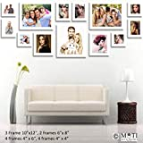 "13 Pc White Photo Frame Wall Collage, 3Pc 10"" X 12"", 2Pc 6"" X 8"", 4 Pc 4"" X 6"", 4Pc 4"" X 4"""