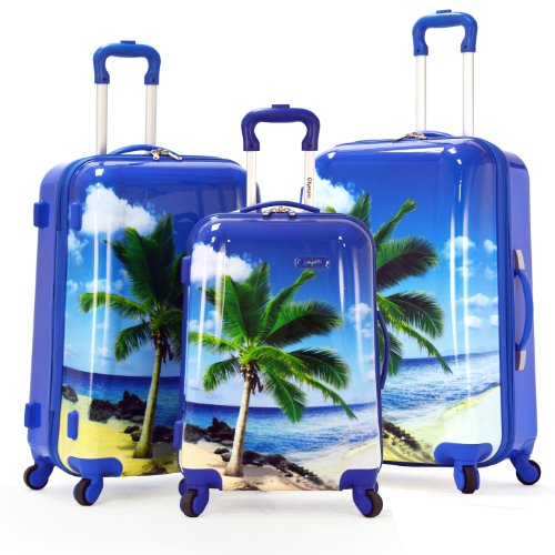 Olympia Luggage Palm Beach 3 Piece Polycarbonate Hardcase Set, Blue, One Size best deal