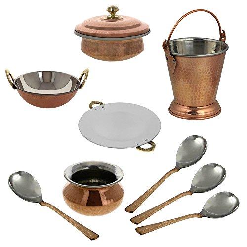 ShalinIndia Indian Centerpiece Copper Tableware Tava Karahi Handi Donga Balti Spoons Set Brown (Balti Cooking compare prices)