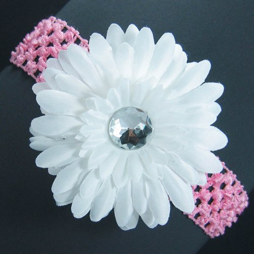3-in-1 Gerber Daisy Flower Hair Clip Bow on Soft Stretch Crochet Child Headband fits Babies to Toddlers to Youth Girls - White on Light Pink