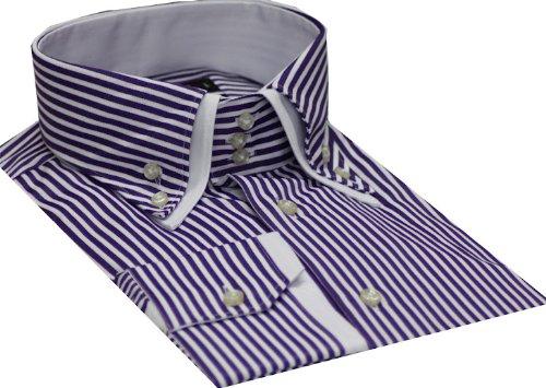 Italian Design Button Down Men Formal Casual Shirts Purple Strips Colour Slim Fit