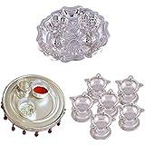 GS MUSEUM Silver Plated Rani Kumkum Plate, Silver Plated 4 Inchi Pooja Thali Nag And Silver Plated Set Of 6 Standing... - B01GA8KKKA