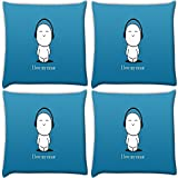 Snoogg I Love My Music Pack Of 4 Digitally Printed Cushion Cover Pillows 16 X 16 Inch