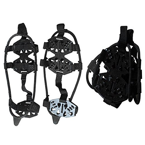 Ezyoutdoor Crampons 18 Teeth Shoes STABLicer Ice Snow Cleats Footwear Non-Slip for Walking Bad Weather Snow Rain Anti-Slip 320x110x5 cm L(black) (Canada Snow Shoes compare prices)