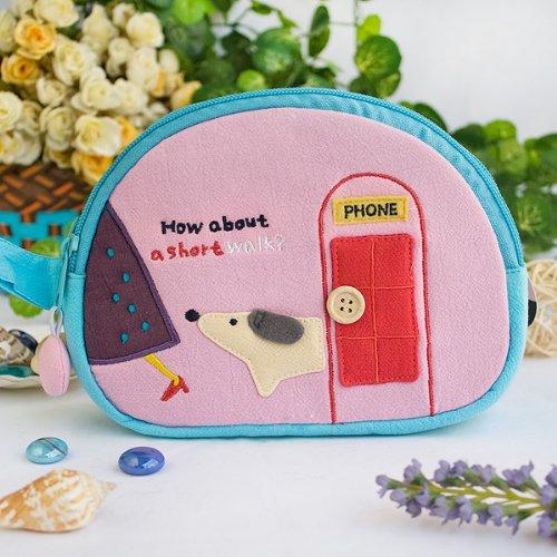 [A Short Walk] Embroidered Applique Cosmetic Bag / Camera Bag / Hand Purse Wallet (7.1*5.1*2.8)