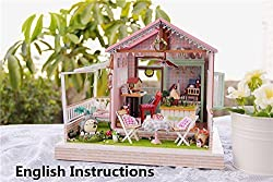 DIY Assembling Toy, Miniature Wooden Doll House with All Furnitures / Lights / Music (A022)