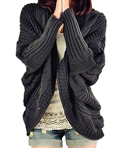 Minetom Donna Inverno Caldo Cardigan in Maglia manica a Pipistrello Lavorato A Maglia Maglione ( Grigio scuro )