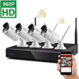 [Dream Liner WiFi Booster] xmartO WOS1344 4CH 960p HD Wireless Security Camera System with 4x960p HD Wireless IP Cameras (Built-in Router, 1.3MP Camera, IP66, 80ft IR, No HDD)