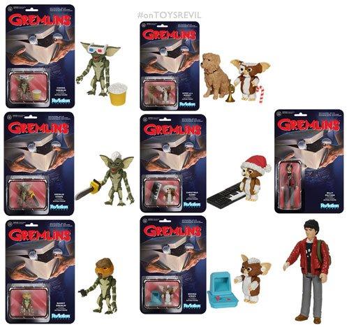 Funko Gremlins Billy Peltzer, Gizmo, Mogwai Stripe, Gangster Gremlin, Christmas Gizmo, Gremlin Stripe and Cinema Gremlin ReAction 3 3/4-Inch Retro Action Figures Set of 7