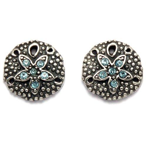 Sterling Silver Sand Dollar Stud Earrings with Swarovski Aqua Cubic Zirconia