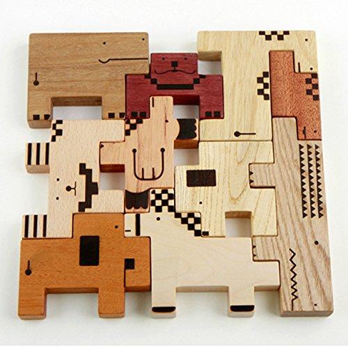 木のおもちゃSoopsori(スプソリ) ZooZoo動物パズルブロック 収納用布バッグつき