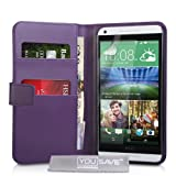 Yousave Accessories PU Leather Wallet Cover for HTC Desire 816 - Purple