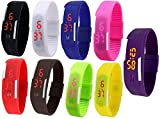 Pappi Boss Unisex Multicolor Set of 9 Digital Rubber Jelly Slim Silicone Sports Led Smart Band Watch for Boys, Girls, Men, Women, Kids - COMBO OFFER EXTREME DISCOUNT DEAL