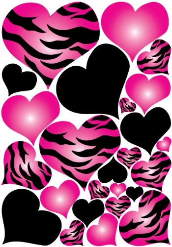 Superb Hot Pink Radial Zebra Print and Black Hearts Wall Sticker Decals