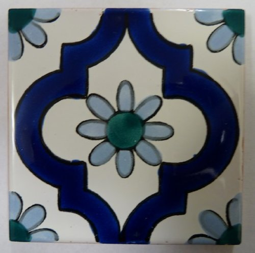 Decorative Ceramic Tile (Set of 4 Tiles) - Ahwaz Blue Design By Le Souk Ceramique