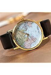 U-beauty GreatCase Unisex Elegant Retro Old Classic Luxury World Map Bracelet Quartz Wrist Watch with Leather Band