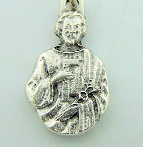 Mini Charm Bracelet Catholic Medal Silver Gild Saint St Joseph The Worker
