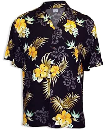 Yellow Hibiscus Hawaiian Shirt Black 2xl At Amazon Men S