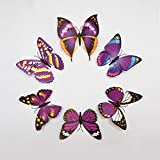 KARP™ Removable 6 Pcs Large Multicolored 3D Butterfly Wall Sticker Magnet Art Design Decorative Butterfly Sticker...
