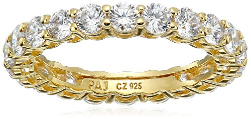 18k Yellow Gold Plated Sterling Silver Round Cubic Zirconia All-Around Band Ring (2.1 cttw), Size 8 (All Rings compare prices)
