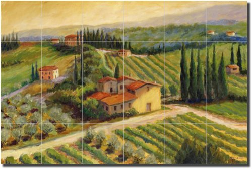 Afternoon Vineyard by Joanne Morris – Artwork On Tile Ceramic Mural 17″ x 25.5″ Kitchen Shower Backsplash