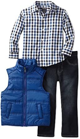 Kenneth Cole Boys 2-7 Puffy Vest with Plaid Shirt and Jean, Blue, 4