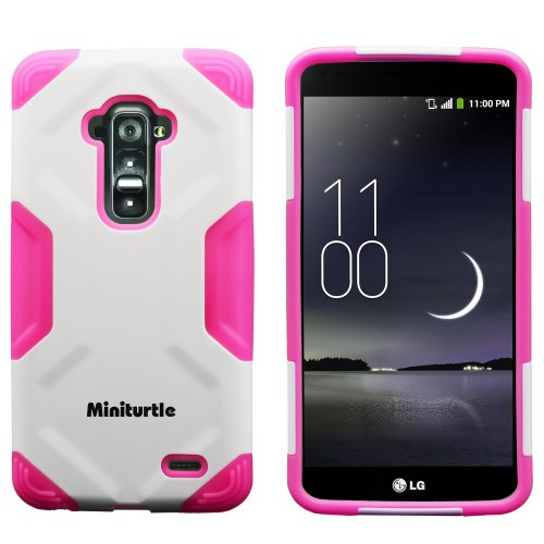 Miniturtle, 2 In 1 Hybrid Curved Shell Casing Hard Phone Case Cover, Stylus Pen, And Clear Lcd Screen Protector Film For Android Smartphone Lg G Flex /T Mobile D959, /At&T D950, /Sprint Ls995 (White / Pink)