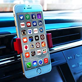 UNIVERSAL Car Cell Phone Holder | Extremely COMPACT Car Vent Mount | COMPATIBLE with All Smartphones and Other Android Devices up to 5.5 | Also with Iphone 6 6+ 5 5s 5c 4 4s Nexus HTC Lg Samsung Galaxy S5 S4 S3 Note 4 3 ** Satisfaction Guarantee **