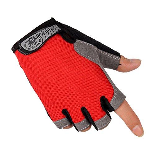 Bigban Sports Bicycle Cycling Biking Gel Half Finger Fingerless Gloves M/L/XL (XL, Red)