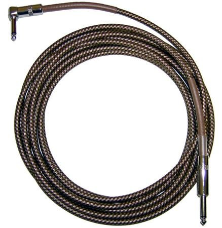 Cbi Braided 20 Foot Right Angle Guitar Instrument Cable - (20 Feet) (Vintage Tweed) (Angled)