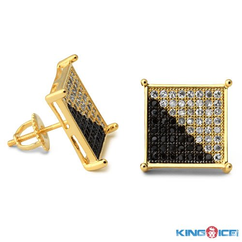 King Ice Gold Two Faced Urban Earrings