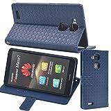【F.G.S】ブルー【全5色】 Huawei Ascend Mate7 ケース カバー 手帳型 PUレザー素材 カッドセット スタンド機能付き F.G.S正規代理品