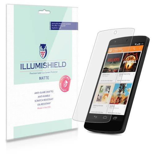 Illumishield - Google Nexus 5 Anti-Glare (Matte) Screen Protector Hd Clear Film / Anti-Bubble & Anti-Fingerprint / Premium Japanese High Definition Invisible Crystal Shield - Free Lifetime Warranty - [3-Pack] Retail Packaging