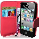 Supergets Hülle für Apple iPhone 4s und 4 Buch-Stil Imitat Ledertasche in Rosa Eingabestift, Displayschutzfolie, Reinigungstuch