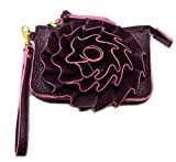 Jazzed Faux Leather Wine Colored Spring Flower Wristlet Purse