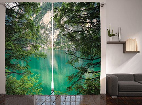 Ambesonne Lakehouse Decor Collection, Mountain Lake Lago di Braies Italy and Skirts of the Mountain View High Pine Trees Picture, Living Room Bedroom Curtain 2 Panels Set, 108 X 90 Inches, Teal Green