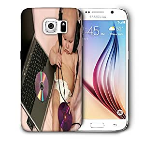 Snoogg Baby With Headset Designer Protective Back Case Cover For SAMSUNG GALAXY S6